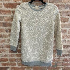 Gap Creme Sherpa Fuzzy Polka Dot Sweatshirt Dress